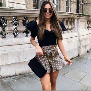 Zara Satin Polka Dot Bermuda Skort Shorts Skirt XS